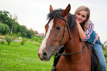 beautiful girl and her handsome horse