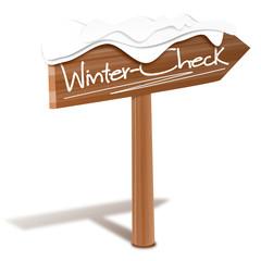 Holzschild Wintercheck