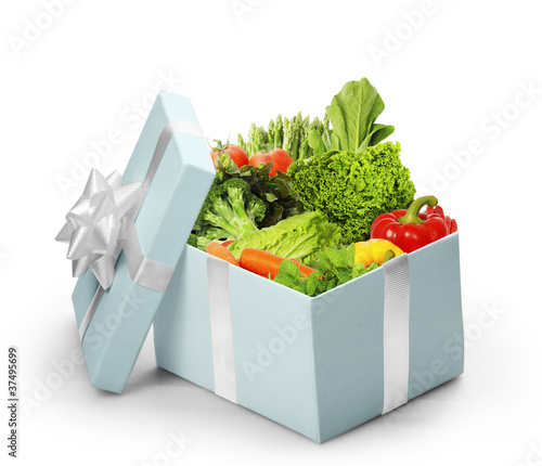 open gift box With vegetables