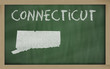 outline map of connecticut on blackboard