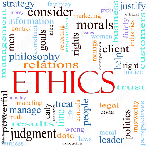 Ethics word concept illustration