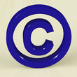 Blue Copyright Sign Representing Patent Protection.