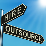 Hire Or Outsource Directions On A Signpost