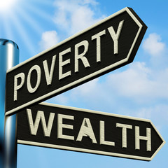 Poverty Or Wealth Directions On A Signpost