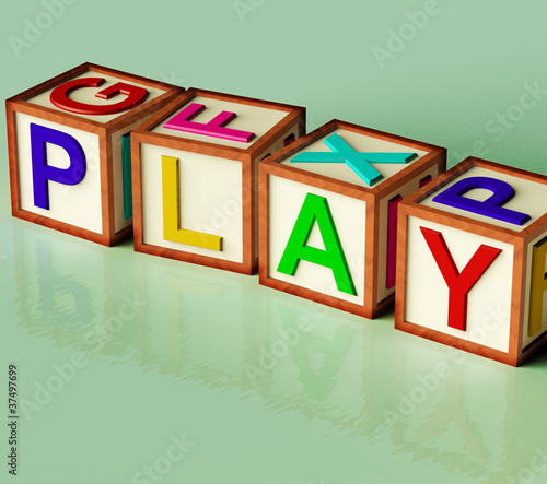 Kids Blocks Spelling Play As Symbol for Fun And School