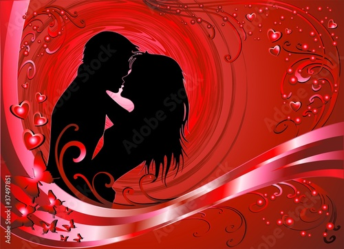 Coppia Amore Sfondo Rosso-Lovers Red Background-Vector