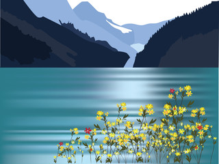 mountain landscape, sea and flowers on the coast
