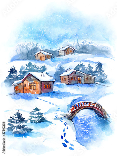 wioska-w-zimie