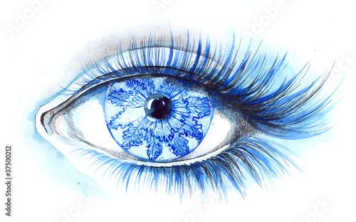 In de dag Vrouw Gezicht winter eye