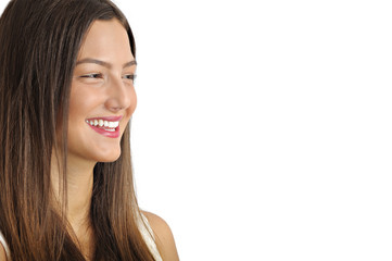 laughing natural young woman looking side at copy space