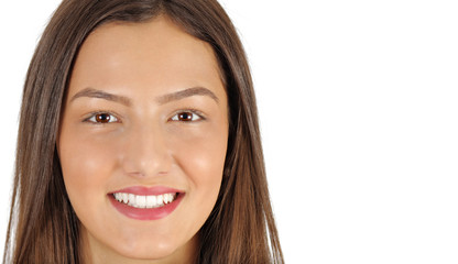 closeup portrait of smiling young beautiful woman