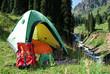touristic  tent on mountain glade
