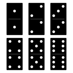 Domino black set vector illustration on white background