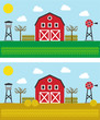 vectorized farm in spring and summer