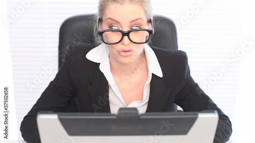 Fun Portrait Woman Wearing Huge Glasses