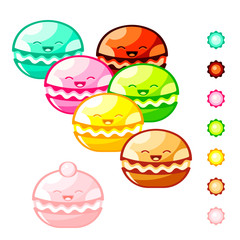 Cute macaroon cookies and color symbols