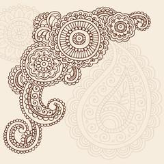 Henna Abstract Doodle Cornder Design Mehndi Tattoo Vector