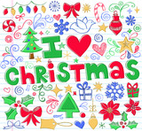 Christmas Sketchy Doodles Icon Vector Design Elements Set poster