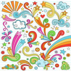 Psychedelic Notebook Doodles Vector Illustration Set