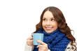woman with blue mug