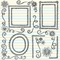 Sketchy Frames Doodles Vector Illustration Set