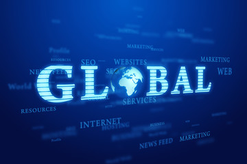 Global. Words cloud on blue background.