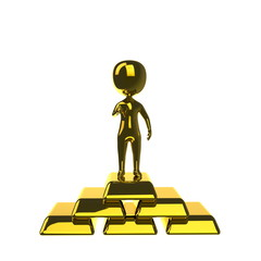 3d gold man standing on the gold bars. Isolated on white backgro