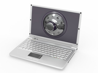 Laptop with steel security lock. Password