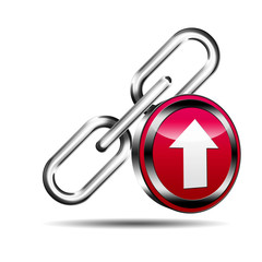 Icono enlace 3D con señal upload