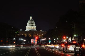 Washington DC - US Capitol at night with street lights