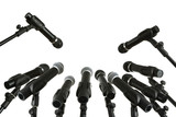 Fototapety Press conference microphones isolated on white