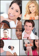 Mosaic of young adults at the gym