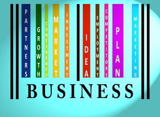 Business word on colored barcode