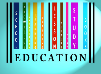 Education word on colored barcode