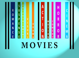 Movies word on colored barcode
