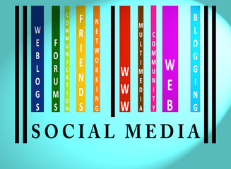 Social Media word on colored barcode