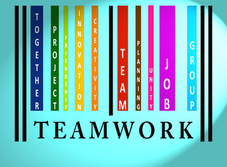 Teamwork word on colored barcode