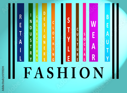 Fashion word on colored barcode