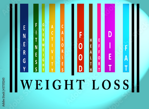 Weight Loss word on colored barcode