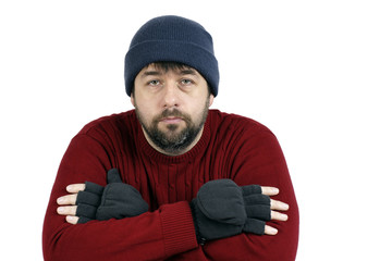 Sad man with hat and gloves