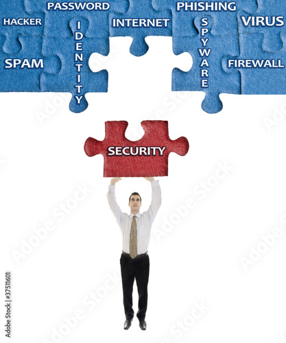 Security word on puzzle in man hands