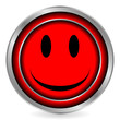 Smile face red circle icon