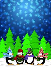 Penguins Carolers Singing with Winter Snowing Scene Illustration