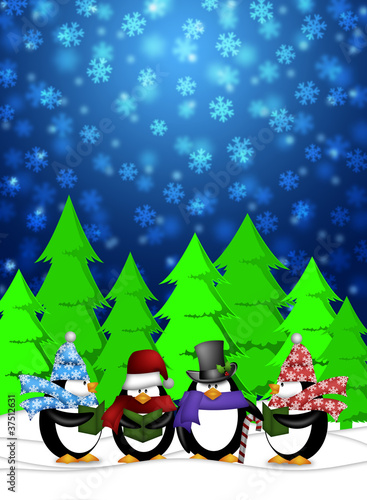 Penguins Carolers Singing with Winter Snowing Scene Illustration