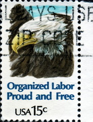 Organized Labor Proud and Free. US Postage.