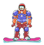 The snowboarder in a full body armor.