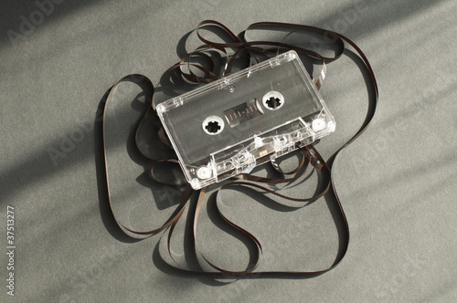 Audio tape cassette with subtracted out tape.