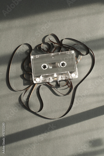 Audio tape cassette with subtracted out tape