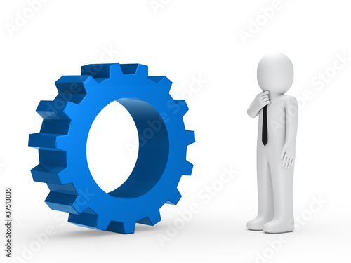 Business man blue mechanical gear