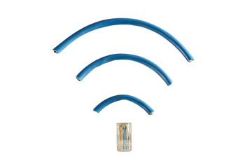 ethernet cord in shape of wireless symbol